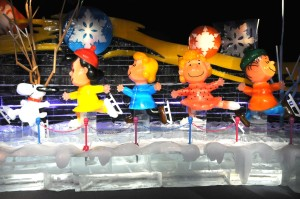 Peanuts characters on ice, in ice