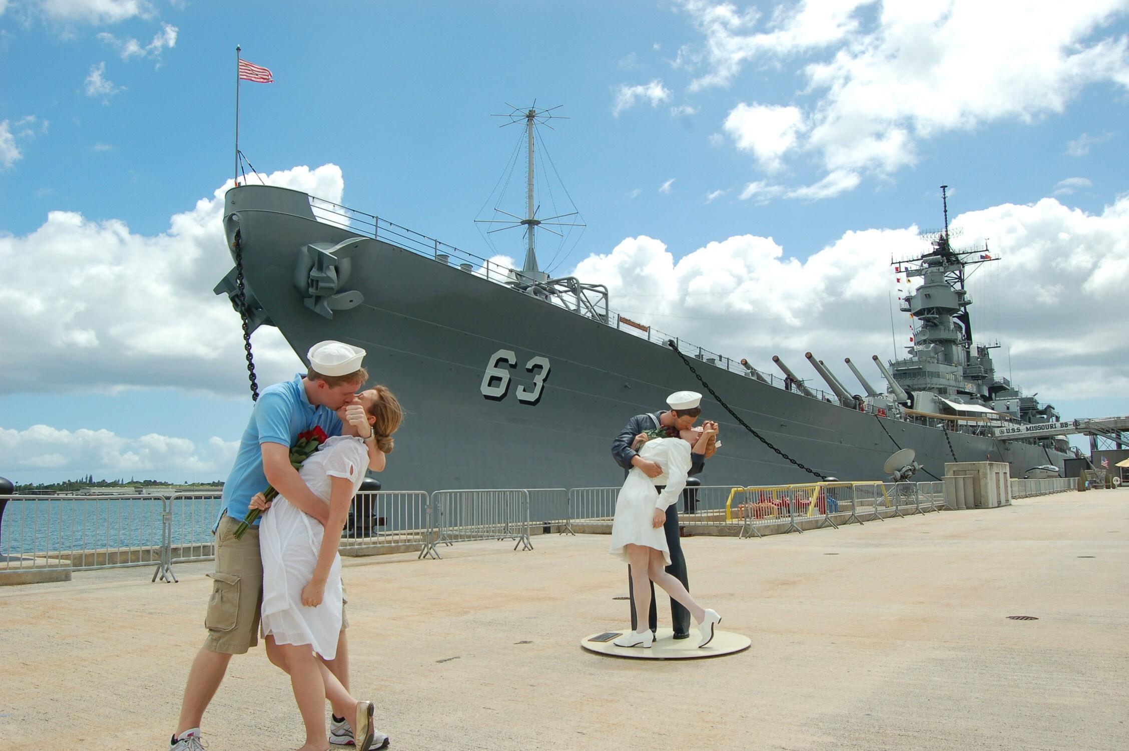 Landing a kiss at the Battleship Missouri Memorial may land