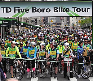 Held annually the first Sunday in May, the TD Five Boro Bike Tour is America's largest cycling event with a 40 mile, blissfully car-free ride through all five boroughs for 32,000 cyclists © 2012 Karen Rubin/news-photos-features.com