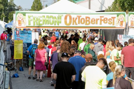 Fremont Oktoberfest hosts an outdoor urban Tasting Garden two city blocks where revelers can sample from over 80 microbrews and raise their German beer steins in the Buxom Beer Garden.