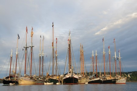 "A memorable ""Schooner Gam"" - meeting of nearly a dozen tall ships of the Maine Windjammer Fleet - and ""raft up"" where passengers get to visit the other ships (© 2013 Karen Rubin/news-photos-features.com)"