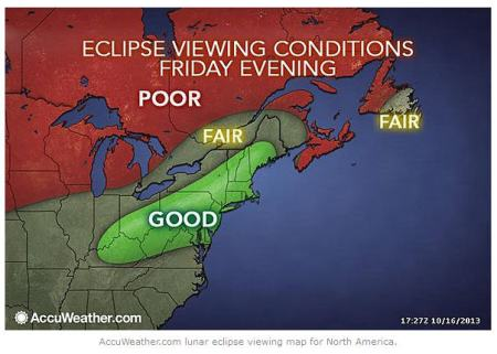 The lunar eclipse on Friday, October 17, will be most visible for the United States and Canada at 7:50 p.m. EDT. It will be the last lunar eclipse of 2013 (photo from AccuWeather.com)