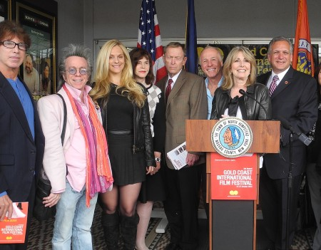 Gold Coast International Film Festival Ex Dir Regina Gil, flanked by Fred Carpenter, director, Send No Flowers; Jeffrey Gurian, GCIFF head of live comedy programming; Consuelo Vanderbilt Costin; North Hempstead Councilwoman Lee Seeman; North Hempstead Supervisor John Riordan, Jackie 'the Jokeman' Martling from the Howard Stern show;  Nassau County Executive Ed Mangano, announces the lineup for the third annual festival to be held at venues throughout North Hempstead Oct. 21-27 © 2013 Karen Rubin/news-photos-features.com