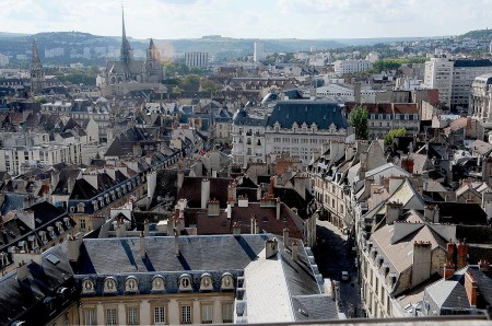 A guided walking tour of Dijon brings me up to the tower atop the magnificent  Palais de Ducs for the fabulous view of the historic city © 2013 Karen Rubin/news-photos-features.com