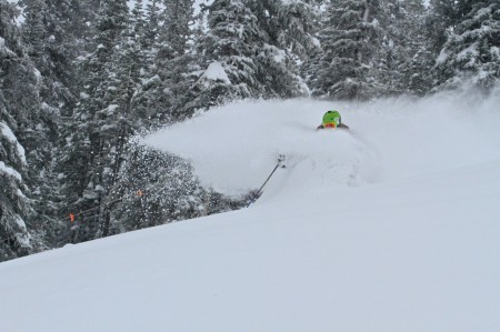 Skier Scot Chrisman  shows the skiing is looking pretty good in Crested Butte right now! (Photo by Chris Segal)