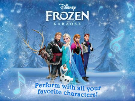 "The ""Disney Karaoke: Frozen"" app, available on iPad, enables kids (of all ages) to listen, sing along, and record their own voice through an assortment of nine songs from the film (photo courtesy of Disney Publishing Worldwide)."