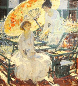 """Dean Cornwell's """"Two Women with a Parasol"""" (ca. 1920) is featured in Nassau County Museum of Art's """"Garden Party"""". The exhibit provides the theme for this year's gala, when guests will feel as if they have just stepped into the scenes depicted in the paintings © 2014 Karen Rubin/news-photos-features.com"""