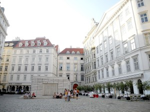 "Judenplatz, the old Jewish Quarter in Vienna, where the Misrachi-Haus museum today houses the excavation of the medieval synagogue, destroyed in 1420, and where there is a Holocaust Memorial. A new walking ""seminar"" examines Sigmund Freud's Vienna © 2014 Karen Rubin/news-photos-features.com"