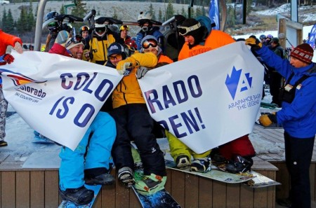 Exultation as Arapahoe Basin, Colorado, again takes claim to the title as first ski resort in the nation to open for the 2014-15 season (Jack Dempsey).