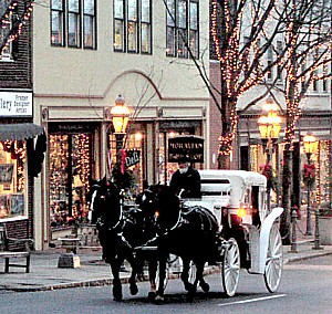 Festive Main Street, Bethlehem. A great place to stay is the historic Hotel Bethlehem.