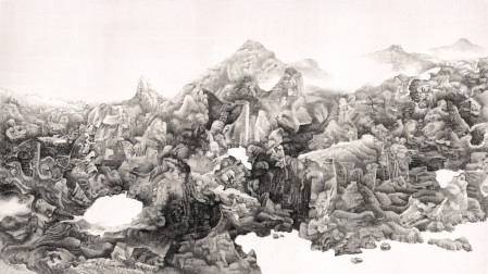 Liu Dan (b. 1953), Mingsha Diabolo, 2013, Ink on paper, from The Xiling Collection, is on view in the China Then and Now exhibition at the Nassau County Museum of Art, Long Island,