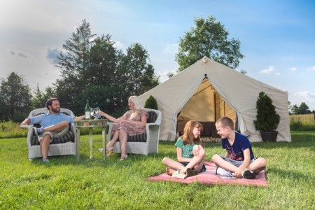TerraVelo Tours organizes an all-inclusive luxury camping escape with bicycling, horseback riding, massages and other amenities.
