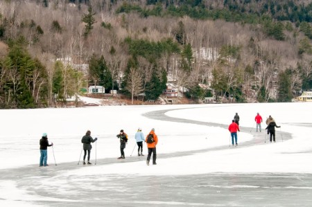 With its own 600-acre lake cleared to create multiple pond hockey rinks and the country's longest maintained skating trail (4.5 miles), Lake Morey, Fairlee, Vermont, is an icy playground for winter enthusiasts.