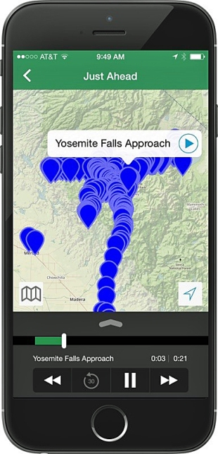 A new GPS-powered mobile app from Just Ahead turns smartphones into hands-free audio tour guides of America's national parks.