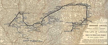 """An 1889 map illustrates the journey of Lincoln's funeral cortege; the National Park Service is replicating the """"Lincoln Journey Home,"""" starting April 18 in Washington DC and ending May 3 in Springfield, Illinois (National Park Service)."""