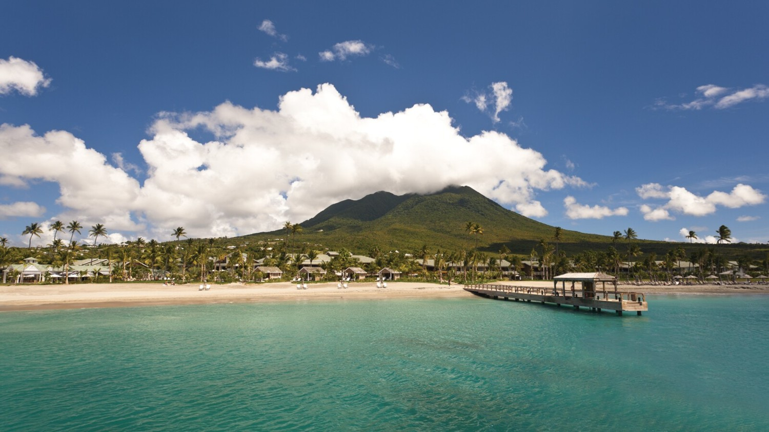 Four Seasons Nevis as seen from the private ferry between Porte Zante, St. Kitts to its private dock on Nevis