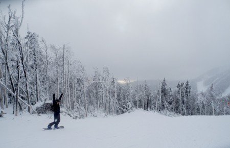 Snowboarding at Gore Mountain. Improvements include restoring the original 1967 gondola unloading station into a Gore summit warming facility and overlook © 2017 Karen Rubin/goingplacesfarandnear.com