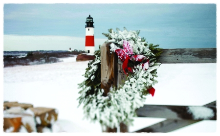 Nantrucket Lighthouse during Christmas